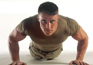 Photo of army recruit undergoing fitness training.