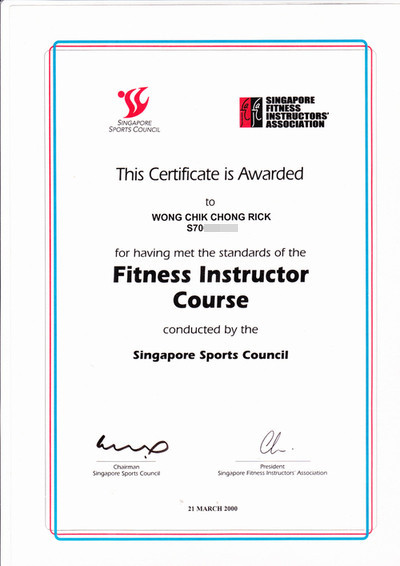 Fitness Instructor Certificate Fitness Instructor
