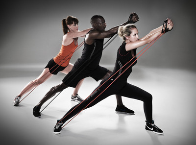 Image of gym-free training using resistance tubings and exercise bands.